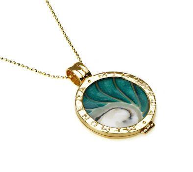 The Silver Dahlia - Mi Moneda Gold Plated Deluxe Pendant Medium , $203.00…
