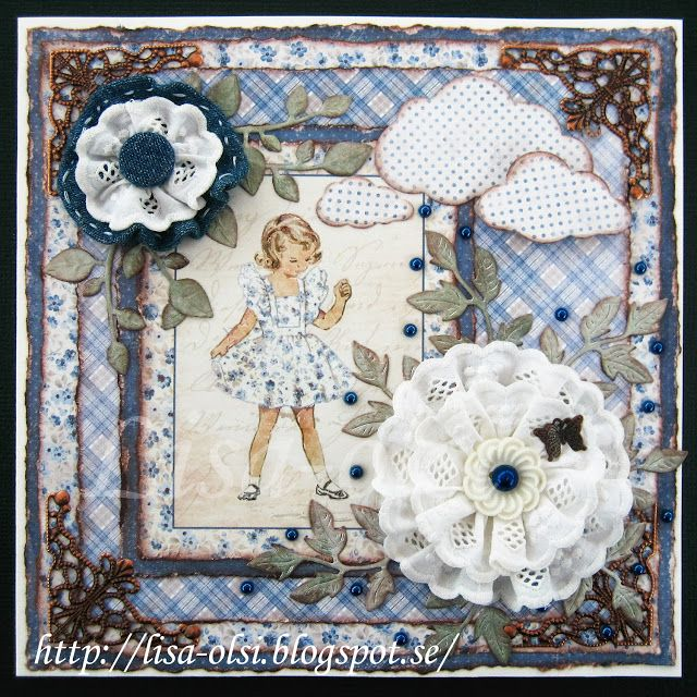 A card with Maja papers and homemade flowers http://lisa-olsi.blogspot.se/