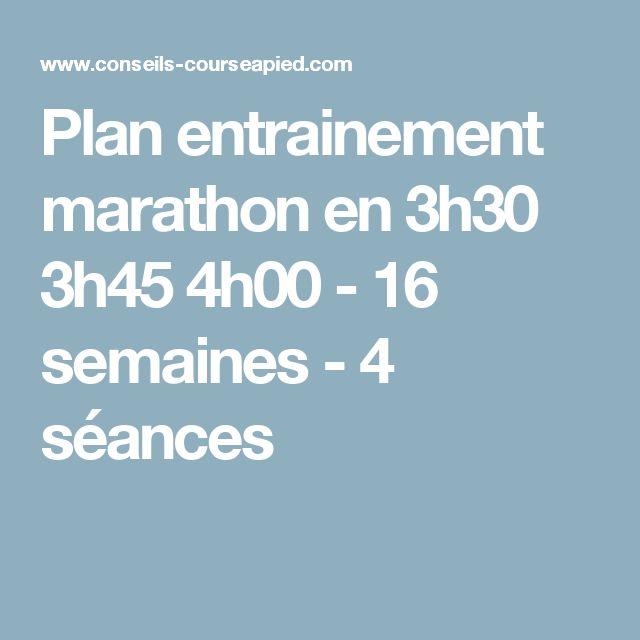 Plan entrainement marathon en 3h30 3h45 4h00 - 16 semaines - 4 séances