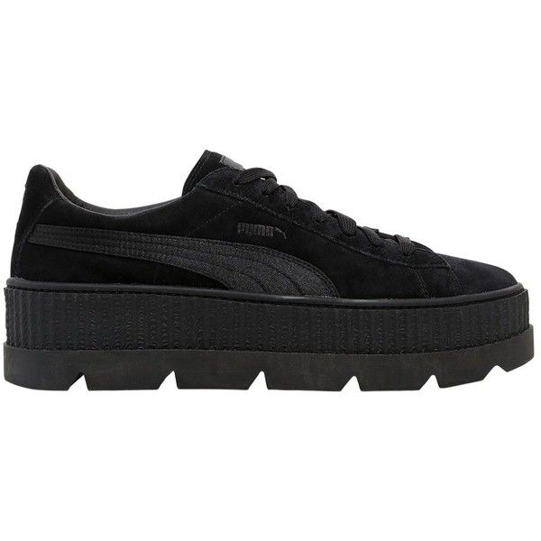 Fenty X Puma Men Suede Creeper Sneakers ($150) ❤ liked on Polyvore featuring men's fashion, men's shoes, men's sneakers, black, mens sneakers, mens rubber sole shoes, mens suede shoes, mens suede sneakers and mens creeper sneakers
