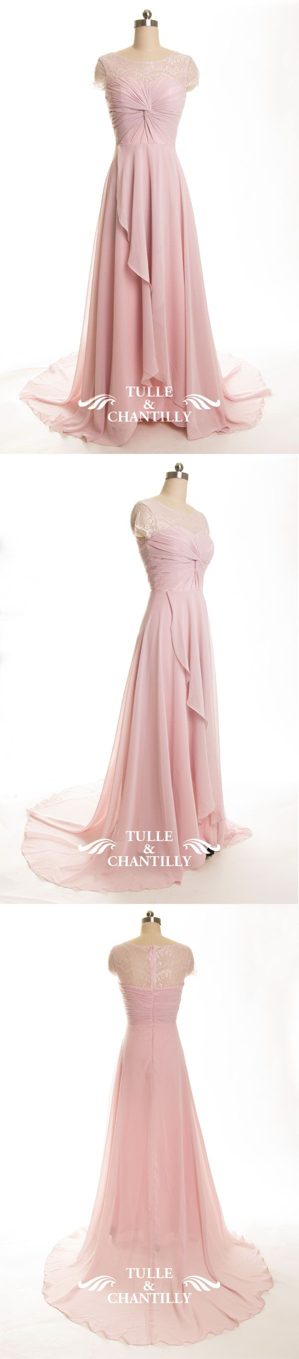 lavender blush long lace and chiffon bridesmaid dress 2015