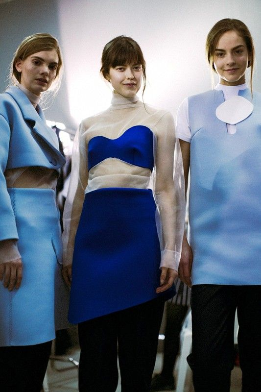 Block coloured neoprene structures and sheer mesh Backstage at Jacquemus AW14 MFW. More images here: http://www.dazeddigital.com/fashion/article/19025/1/jacquemus-aw14