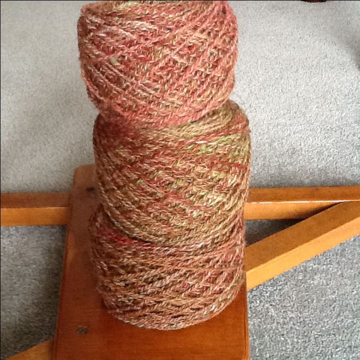 This is spun from wool dyed by Sue Hallberg