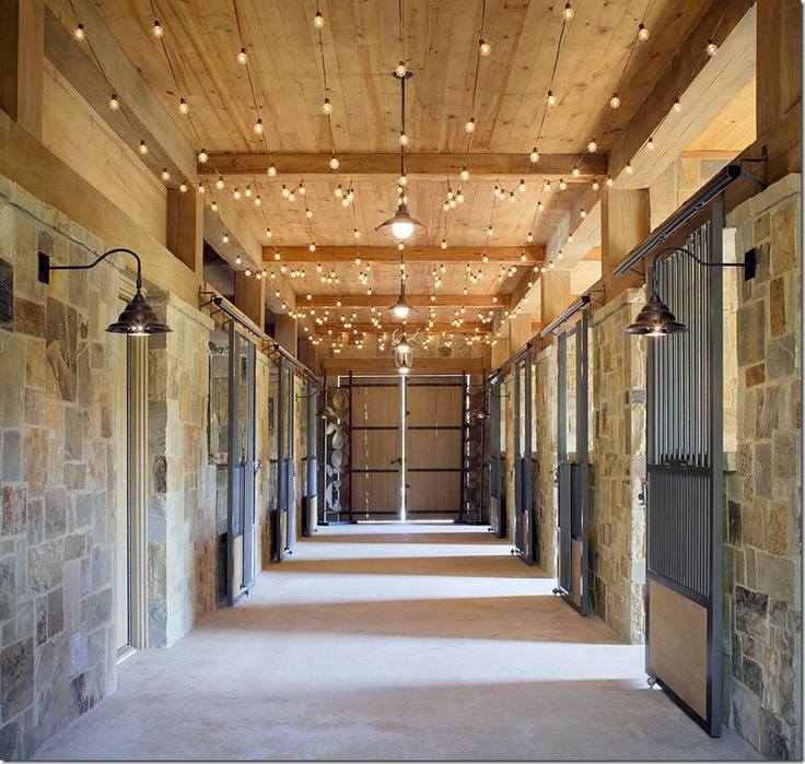 Tuscan Style Stable With White String Lights Running Along Ceiling   Great Barn  Idea For The Holidays Or All Year Round! Dream Home