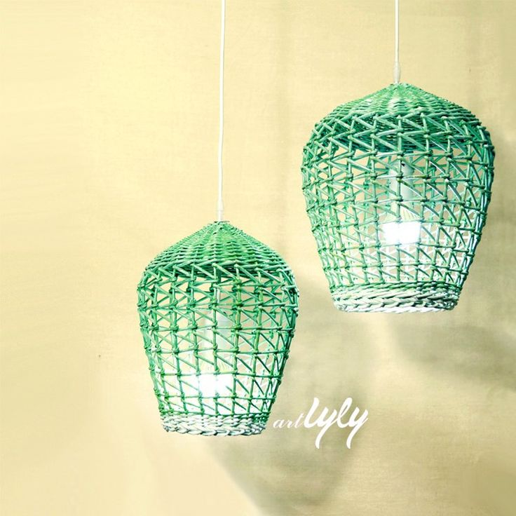 Unique round green wicker lampshade wholesale