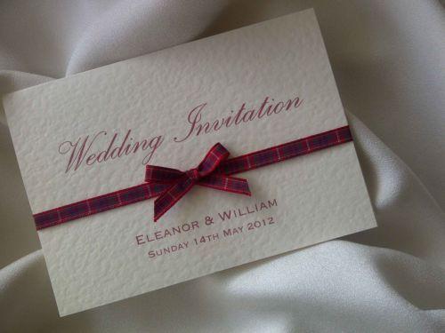 SCOTTISH TARTAN RIBBON WEDDING INVITATION