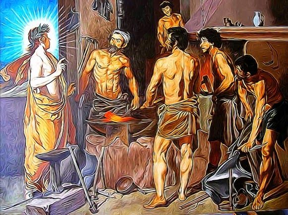 SOBRE EL MITO DE HEFAISTOS O VULCANO // Vulcano hijo de Júpiter y Juno fuese al venir al mundo tan deforme que horrorizado su padre del feo feto lo arrojó desde lo alto del Olimpo. Hubo suerte que sólo se rompiese una pierna a resultas de la caída; mas aun privado de gracias exteriores lo compensaba Hefaistos con ingenio, y aunque feo ymanazas con las chicas, era un manitas el dios con cachivaches… (Ver ➦)…