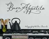 Buon Appetito - Italian Vinyl Wall Decal Lettering Art Design