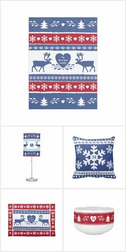 """#Nordic Winter Home Decor Collection Fun, colorful Nordic inspired winter home decor collection with a red, white and blue design with snowflakes, reindeer, pine trees and hearts. Great for the holidays and cold winter days near the fire. Silver winner in Zazzle's 2014 """"Baby it's Cold Outside"""" design contest. #homedecor"""