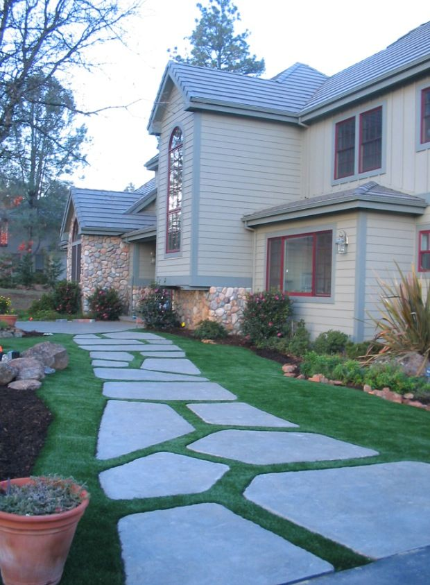 Fake grass with large pavers