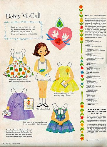 betsy mccall gives a valentine ~ paper doll page from mccall's magazine, february 1959
