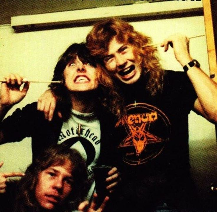 Lars Ulrich, James Hetfield and Dave Mustaine, the early years/ Megadeth is my preference. They should have kept Dave in the band.