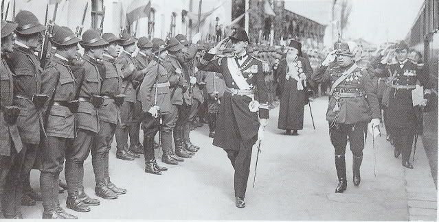 Prince Nicholas as regent reviewing the troops.