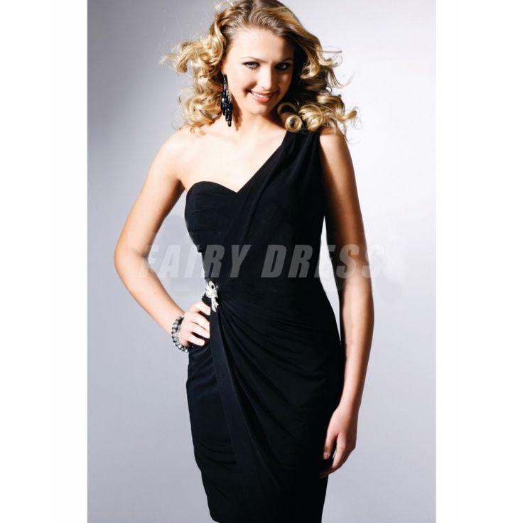 Robe de cocktail/de bal en jersey noir moulante à seule épaule avec rides courte Modèle: FCLA308517  Disponibilité : En stock €79,22