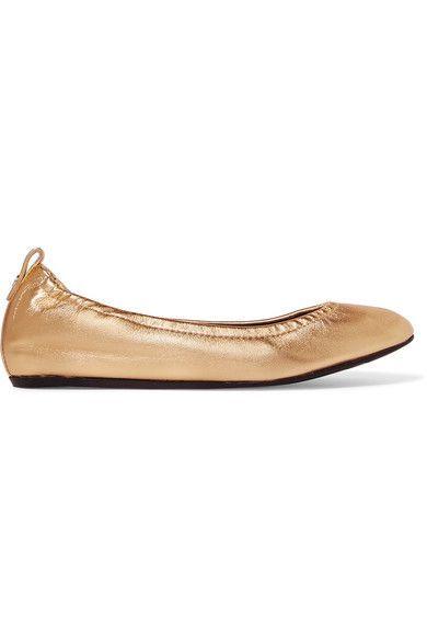 Lanvin - Metallic Leather Ballet Flats - Gold
