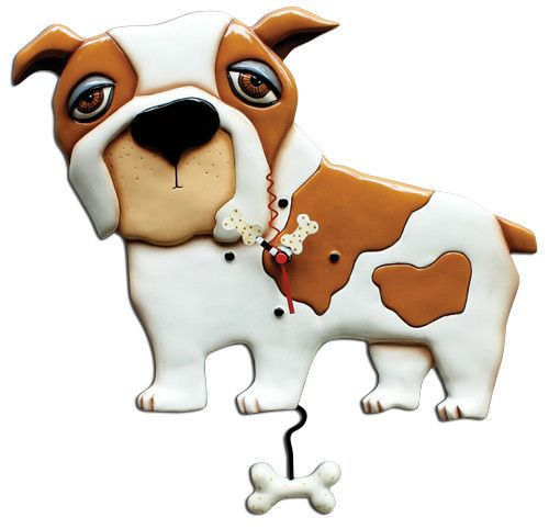 Spike Dog Pendulum Wall Clock. Spike Dog Pendulum Wall Clock. Bulldogs are not your typical lap dog, but would like to be!... Doesn't he look lovable?... With unique polka dotted bone clock hands and swinging bone pendulum. Comes with one AA battery.