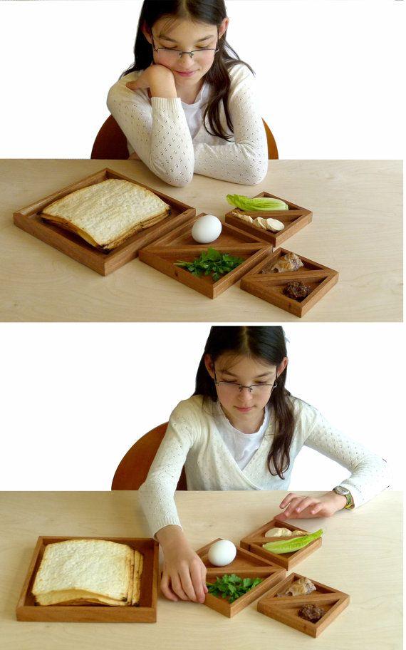 Tangram Passover Seder plate, Modern Seder plate and Matzah tray, Design Playful,Judaica geometric style, Wood seder plate