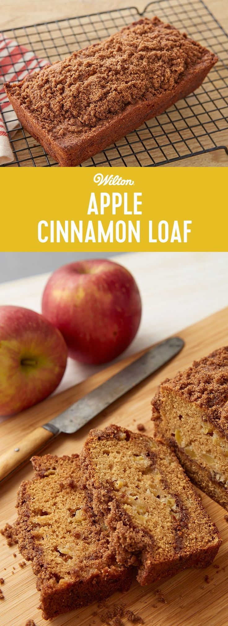 Apple Cinnamon Loaf Recipe - Apple sauce and chopped Fiji apples pack the punch of apple flavor in this moist loaf cake. A layer of sweet-spicy streusel flavored with cinnamon, nutmeg and brown sugar in the middle and more streusel on top melts-in-your mouth and adds crunch. Bake in a loaf pan for easy-to-cut and-serve portions. #fallbaking #wiltoncakes