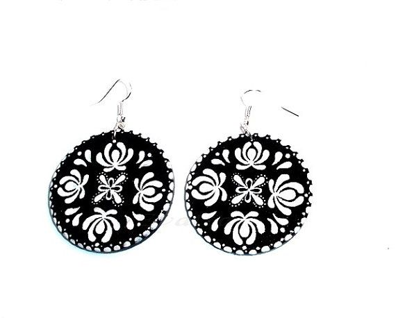 Black Matyo folk earring by EviJewelry on Etsy, $15.90