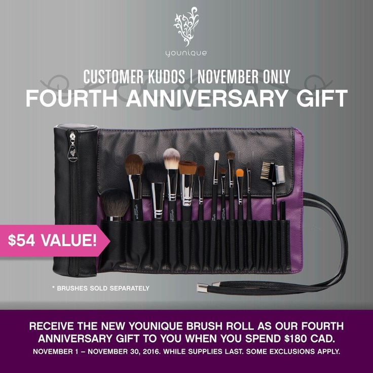 Eeeeekkk!!! Happy November!!! You know what the first of the month means?! A new Kudos and a #newsplurge but it's also #Younique's4thAnniversary so this Kudos is super cool!!  This month only when you spend $180, you'll get this INCREDIBLE BRUSH ROLL for FREE!!   www.youniqueproducts.com/beautywithkorinadine