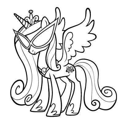 My Little Pony Wearing Glasses Coloring Pages For Kids Printable