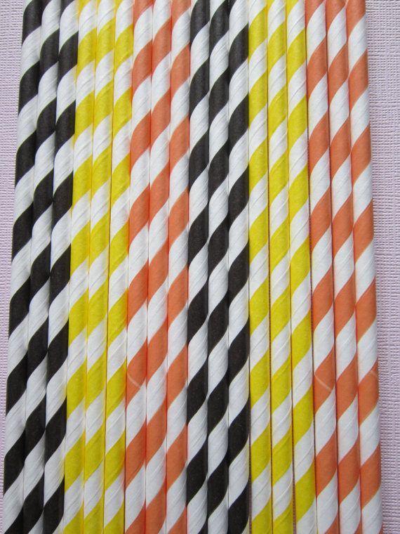 24 Orange Black Yellow  Vintage Retro Paper by DKDeleKtables