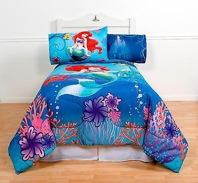 Kids Comforter Bedding Twin/full Girls Bedroom Little Mermaid Ariel Home Decor