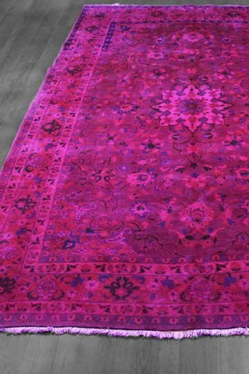 Over Dyed Floral Medallion Persian Wool Rug   Hot Pink/Fuchsia/Multi