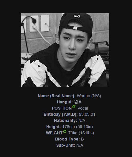 and at last but not least the member profile from the more then awesome Wonho. (Every member from Monsta X is beautiful:))