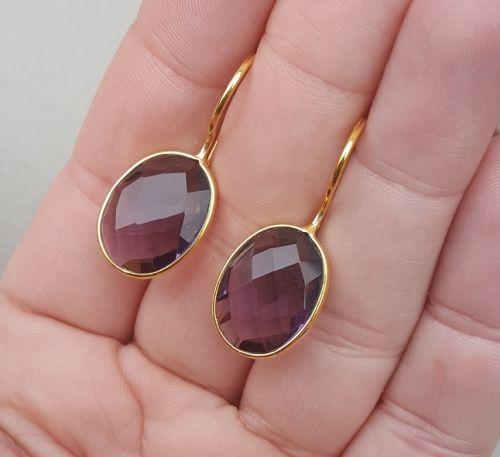 Goud vergulde oorbellen met ovale Amethist quartz | Goud Vergulde Oorbellen | Vergulde Edelsteen Sieraden | Zilveren Edelsteen Sieraden