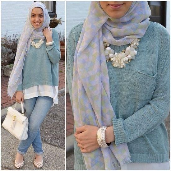 sweater with shirt hijab, Stylish hijab looks by Hani Hulu