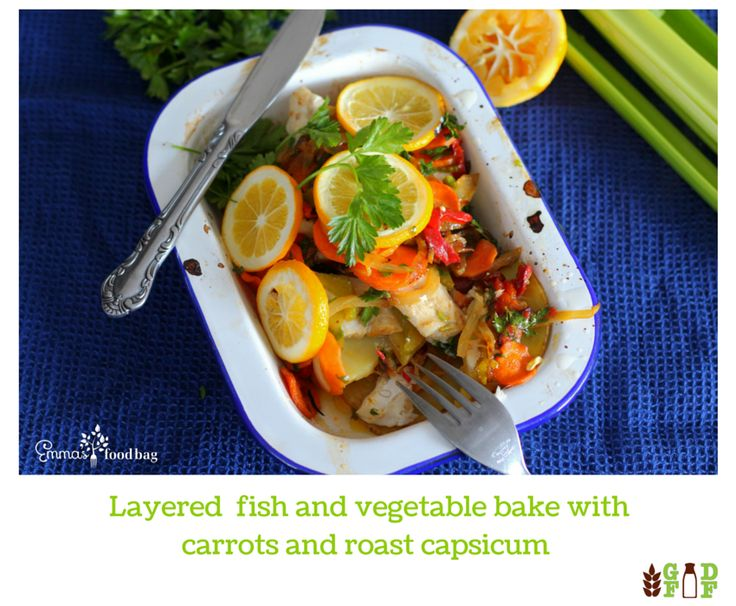 Layered fish and vegetable bake with carrots and roast capsicum