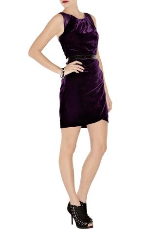 Draped velvet mini dress