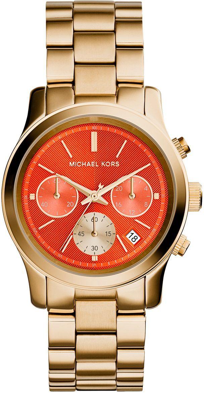ساعة مايكل كورس رناواي للنساء بمينا برتقالي كرونوغراف وبسوار ستانلس ستيل Mk6162 Watches Women Michael Kors Michael Kors Michael Kors Rose