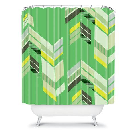 Gabi Chevron Green Shower Curtain #green #chartreuse #emerald #kelly  #avocado #