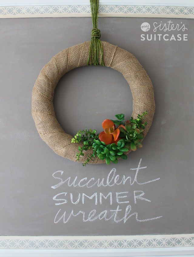 Simple Succulent Wreath, perfect decor for all summer long! www.sisterssuitcaseblog.com #wreath #summer #decor