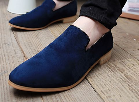 Dark Blue Slip On Loafer Mens Fashion Suede Dress Shoes - PerfectMensWholesale