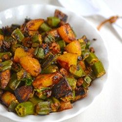 Aloo Bhindi Sabzi (Potato Okra Fry) Aloo bhindi bhujiya (stirfry) or potato okra fry is simple dry curry, perfect side dish with paratha,roti or rice and great lunch box recipe