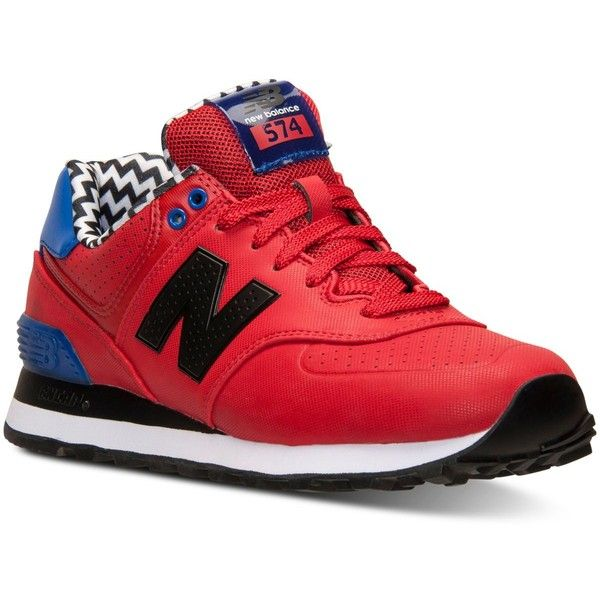 New Balance Women's 574 Acrylic Casual Sneakers from Finish Line ($65) ❤ liked on Polyvore featuring shoes, sneakers, red, new balance trainers, new balance shoes, red trainers, lucite shoes and perspex shoes