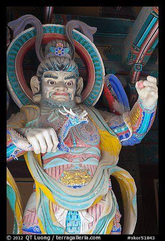 Painted statue with dragon, Bulguksa. Gyeongju, South Korea (color)
