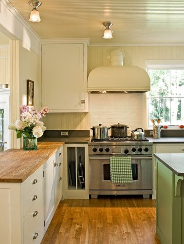 White cabinets butcher block counters this is the look for White kitchen cabinets butcher block counter