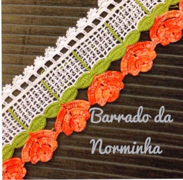Croche - ROSAS Alaranjadas ... (OFICINA DO BARRADO)