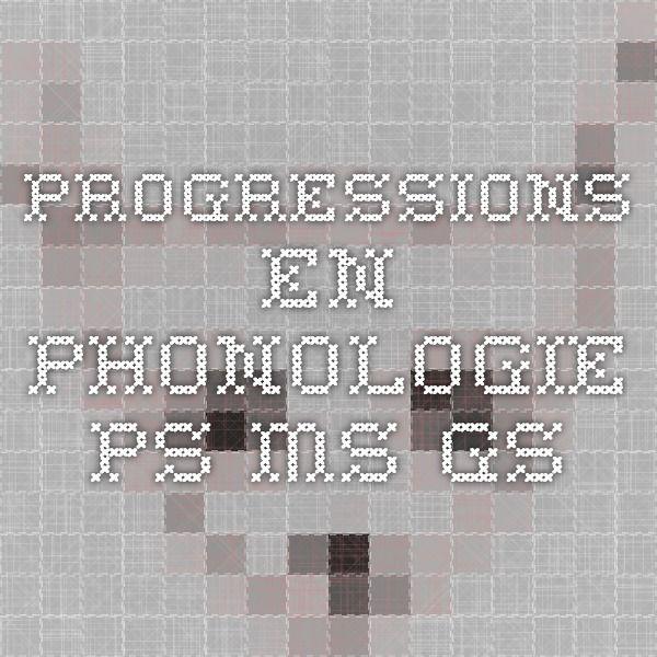 Progressions en phonologie PS MS GS