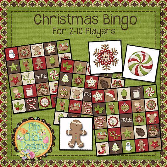 Top 10 Christmas Party Games: Printable Christmas Bingo Game For 2-10 Players