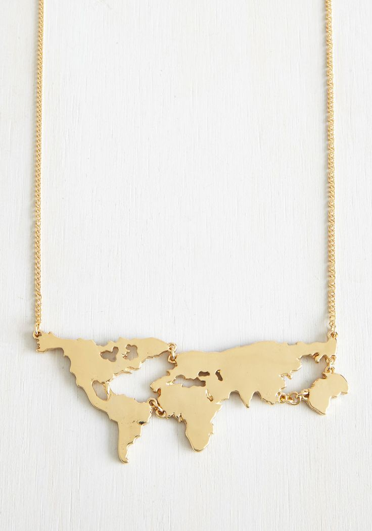 There's a Map for That Necklace in Gold. There are maps for exploring new cities and scenery, and now, theres even a map to wear as a statement necklace! #gold #modcloth