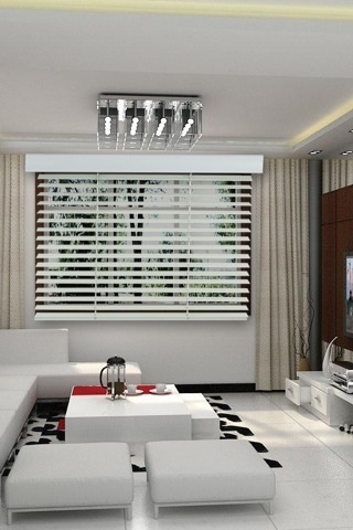 Beautiful white timber open Venetian blinds...see how they'd look in your space with our free E-Blind Design App! www.whichblinds.com.au