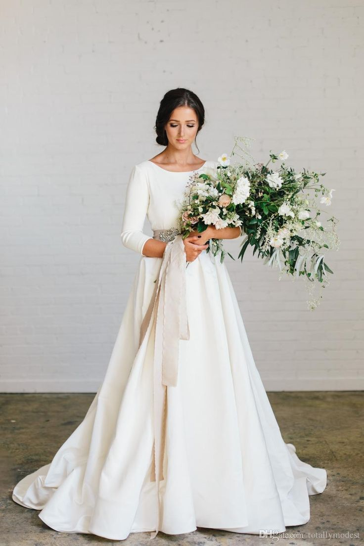 New Boho A-line Soft Satin Modest Wedding Dresses With 3/4 Sleeves Beaded Blet Low Back Country Bridal Gowns Custom Made Couture