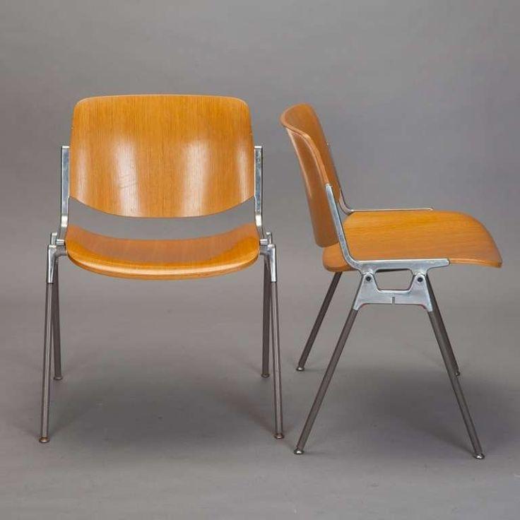 Set Of Four Mid Century Castelli Birch Amp Aluminum Chairs