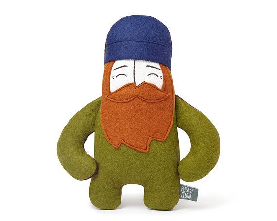 Meet The Woodsman! He is made from wonderfully soft wool felt and has a cotton face.  These playful and quirky dudes are packed with character and