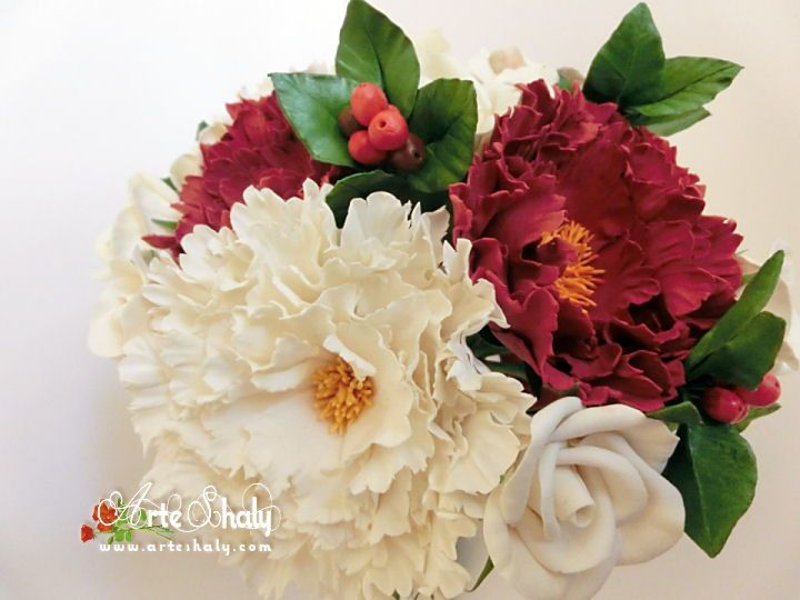 Red and white peonies, for this bouquet at first seemed very daring. Handmade and custom made with air-dried polymer clay.
